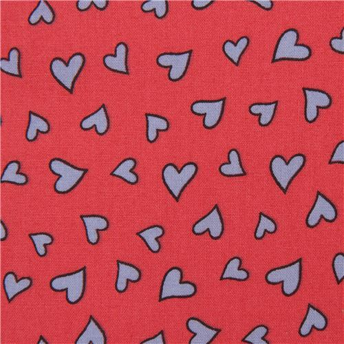 dark pink 'Knuffle Bunny' heart Cloud 9 organic cotton fabric