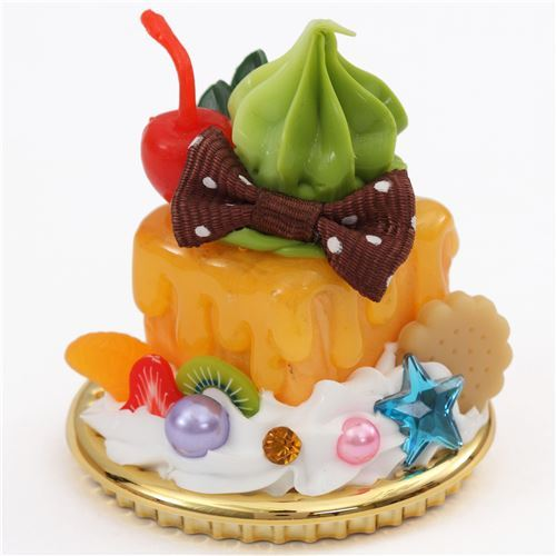 cherry brown bow green cream honey toast dessert figure from Japan