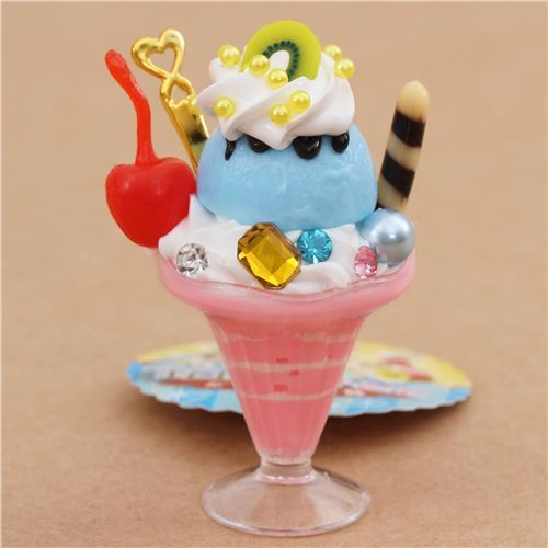 pink blue ice cream cherry biscuit parfait figure from Japan