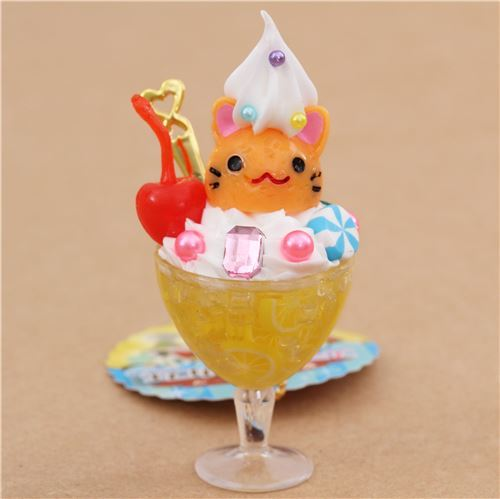 yellow orange ice cream cat face cherry ice dessert figure from Japan