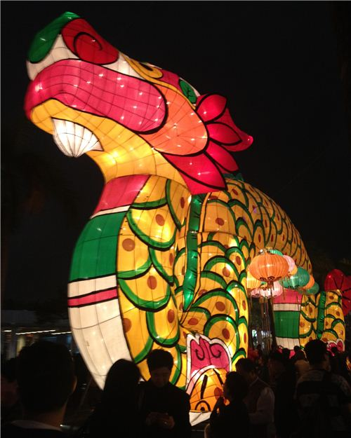 The huge dragon lantern is the highlight of the carnival