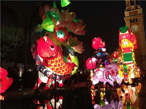 Lots of Chinese symbols and zodiac animals surround the dragon