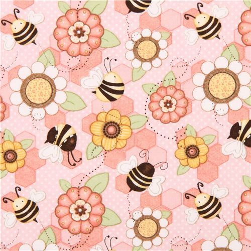 kawaii pink honeycomb fabric by Henry Glass