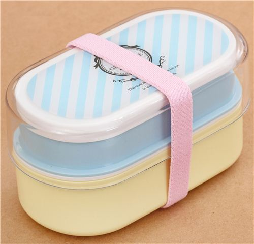 sky blue and yellow Bento Box Lunch Box with stripes and clock from Japan