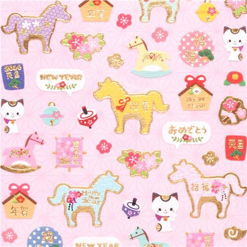 Japanese paper stickers horse cat Happy New Year