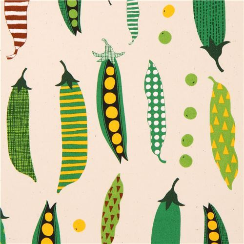 natural color cotton printed oxford fabric pea vegetable from Japan