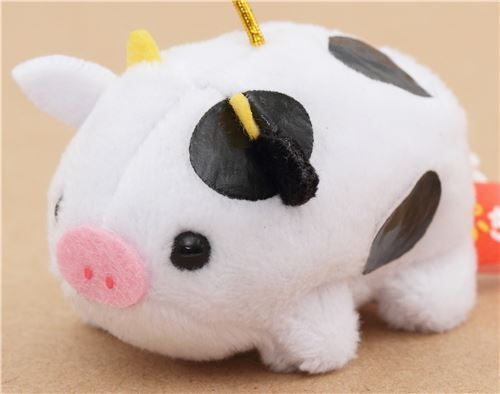 small black white ox with gold color strap Chinese Zodiac Puchimaru plush charm
