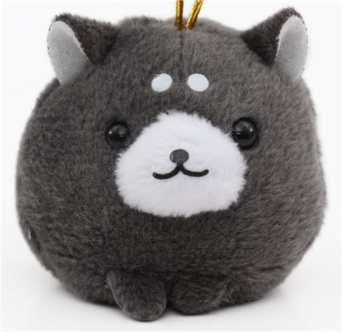 small dark grey dog with gold color strap Chinese Zodiac Puchimaru plush charm
