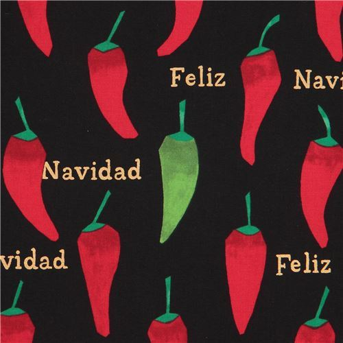 black Alexander Henry fabric chili pepper gold metallic Feliz Navidad
