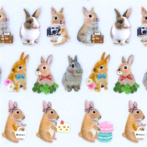 kawaii bunny rabbit cake macaron stickers