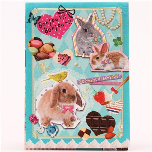 kawaii rabbit bunny macaron pearls Note Pad Q-Lia