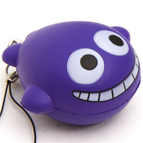 funny grinning purple whale squishy cellphone charm