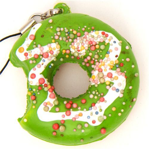 green donut squishy charm with colourful sprinkles