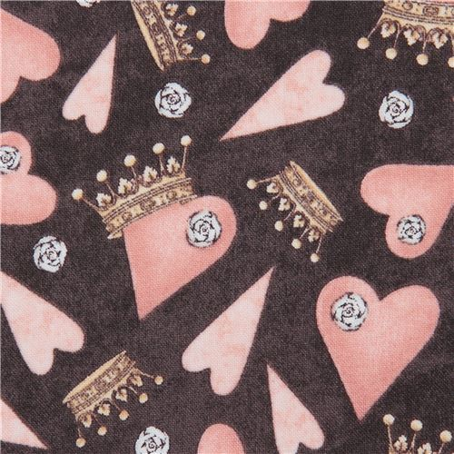dark brown fabric heart crown Gorjuss Quilting Treasures