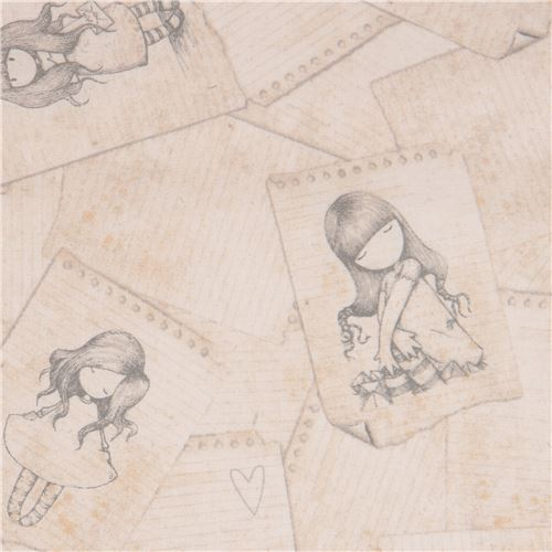 light brown fabric cute children note paper Gorjuss Quilting Treasures