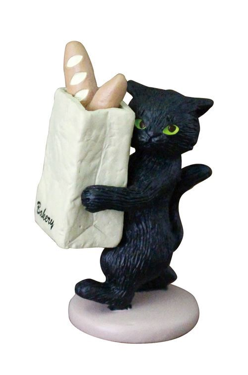 black cat bag of baguette bread figurine from Japan