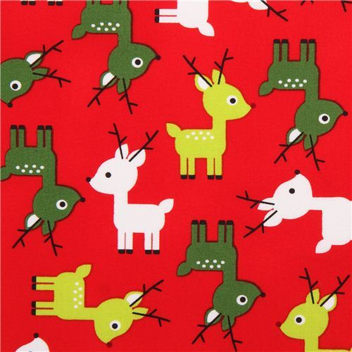red reindeer Christmas fabric Jingle 3 Red by Robert Kaufman