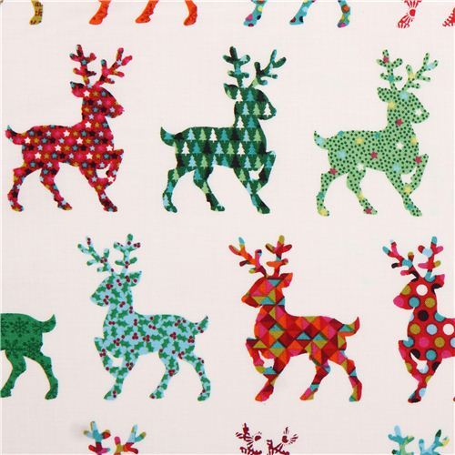 white reindeer Christmas fabric Andover USA