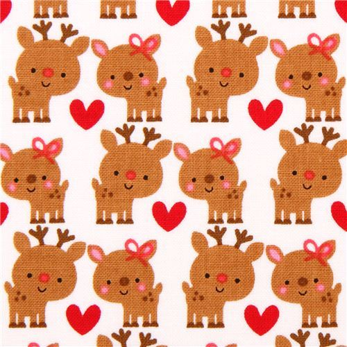white Riley Blake reindeer Xmas fabric 'Santa Express'