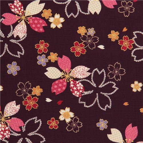 violet Kokka cherry blossom flower fabric with gold