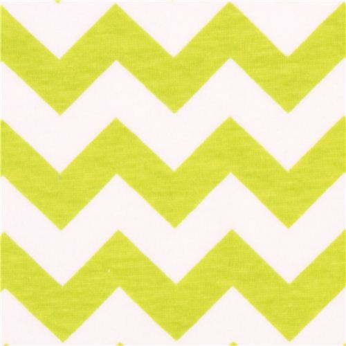 Riley Blake knit fabric with lime green Chevron pattern