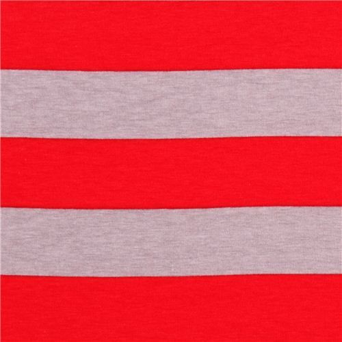 grey Riley Blake knit fabric with red stripes