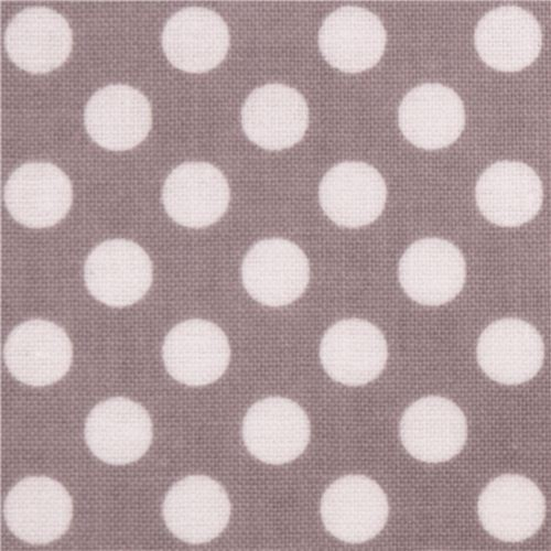 grey Riley Blake polka dot laminate fabric white dots
