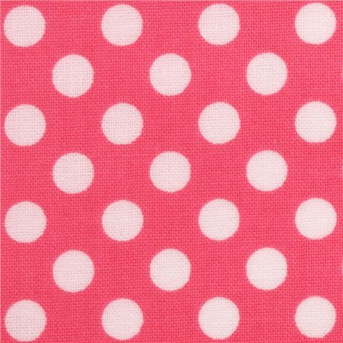 hot pink Riley Blake polka dot laminate fabric white dots