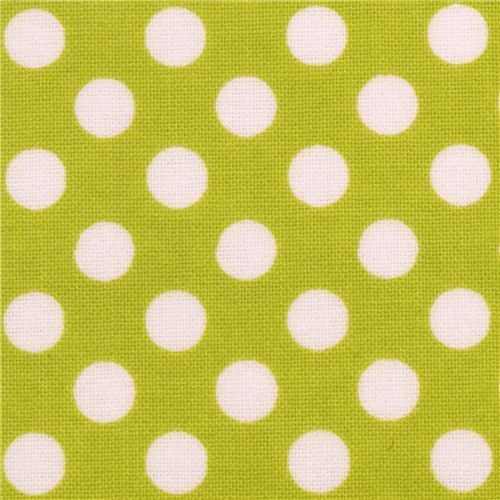 lime green Riley Blake polka dot laminate fabric white dots