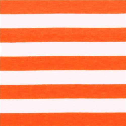white Riley Blake knit fabric with orange thin stripes