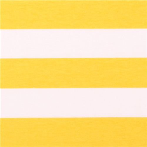 white Riley Blake knit fabric with yellow stripes