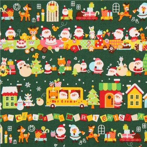 cute dark green fabric with Santa Christmas tree house from Japan