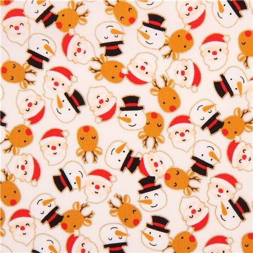 light cream cute santa snowman reindeer gold metallic fabric