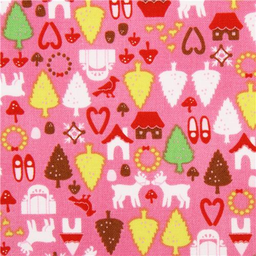 hot pink Christmas fabric Alexander Henry North Pole Ditsy