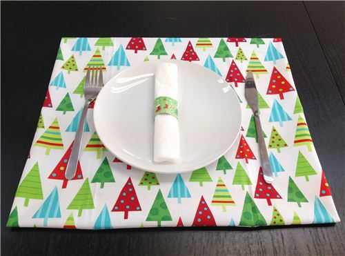 Christmas place mat with our Robert Kaufman Christmas tree fabric