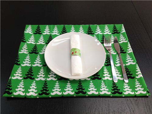 Christmas place mat with our Robert Kaufman Merry Mustache fabric