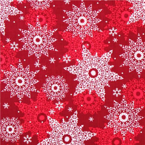 red snowflake Christmas fabric metallic Quilting Treasures