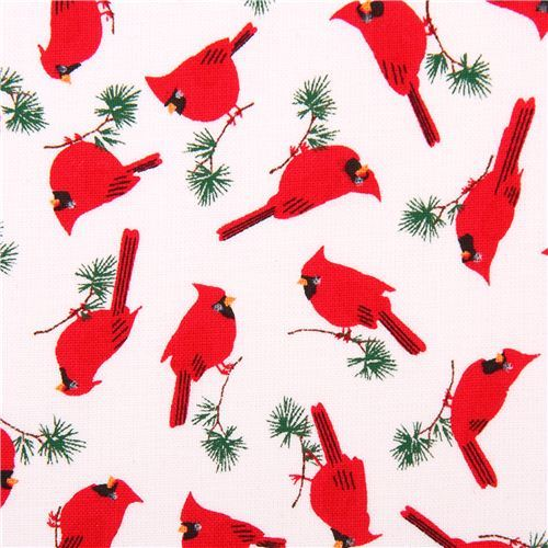 white mini cardinal bird animal fabric Timeless Treasures