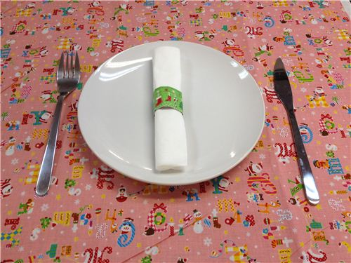 green Christmas stocking Washi napkin ring