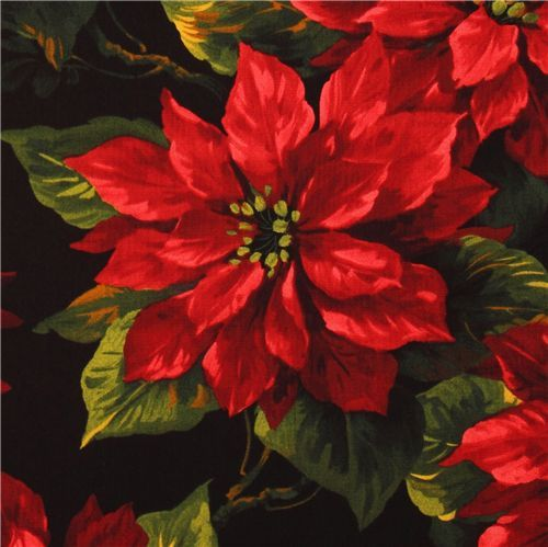 Michael Miller Christmas fabric Scarlet Poinsettia