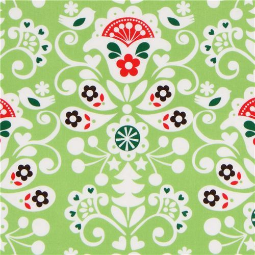 green Michael Miller Christmas fabric Joyful Damask