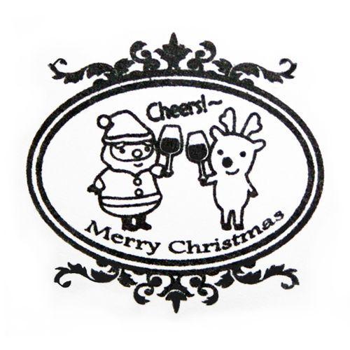 kawaii Xmas stamp Santa Claus reindeer Cheers