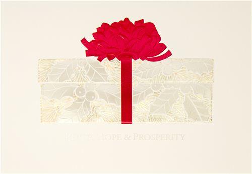 a very artful card from Hong Kong wishing peace, hope & prosperity