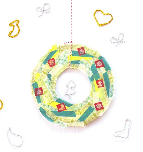 Today's Christmas craft: Washi Tape Christmas wreath