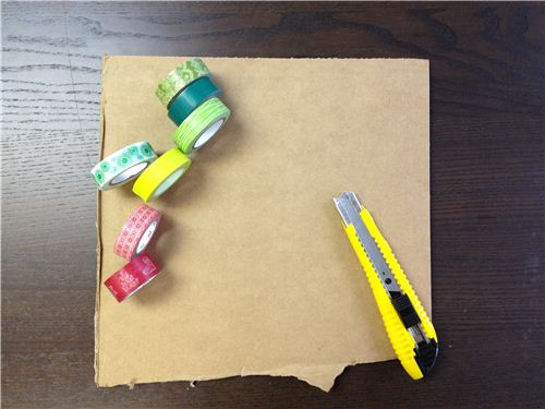 You need: thick cardboard, Washi tapes and a cutter
