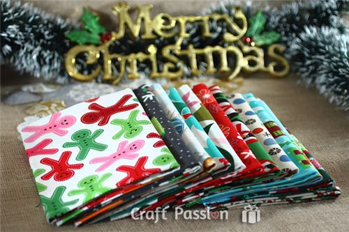 The giveaway prize on craftpassion.com: Cute Christmas fabrics