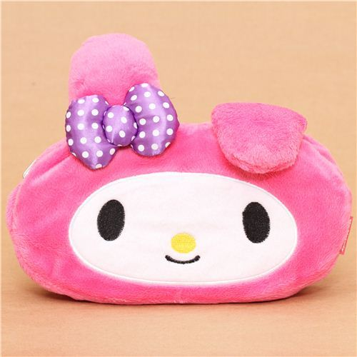 pink My Melody bunny reversible plush pencil case