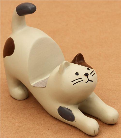 cream-brown cat ceramic cellphone holder Decole