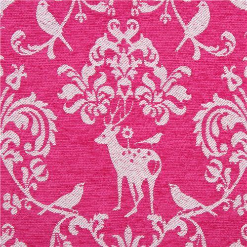 hot pink Jacquard echino fabric woodland stag deer bird