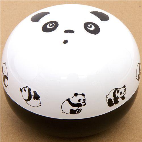 big round panda bear face Bento Box lacquer lunch box